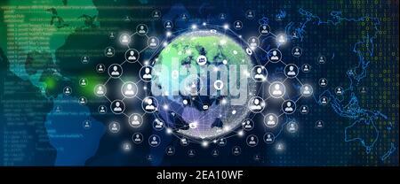 Concept de connexion d'entreprise mondiale, de connexion de personnes et de connexion réseau.