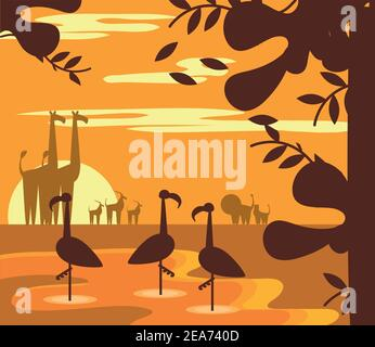 animaux jungle coucher de soleil paysage dessin animé dans la silhouette vecteur illustration
