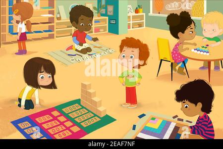 Classe Montessori avec matériaux dorés. Multiculturel garçons et filles apprenant les mathématiques par le jeu Decanomial Square, Bead Cabinet, Dynamic Subtraction