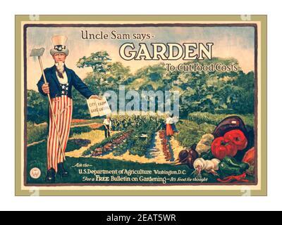"""Vintage USA affiche de la première Guerre mondiale sur l'agriculture alimentaire """"Uncle Sam Says - Garden to cut food coms"""". Contactez le département américain de l'Agriculture, Washington, D.C. pour un bulletin gratuit sur le jardinage - c'est de la nourriture pour la pensée / / A. Hoen & Co., Baltimore.: [1917] (affiche) : lithographie, couleur ; Résumé: Affiche montrant un homme et une femme qui s'occupent d'un jardin potager, avec l'oncle Sam et un arrangement de légumes au premier plan."""