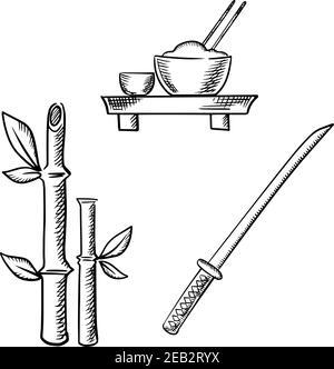 Riz dans un bol avec baguettes et saké sur la table de plancher, tiges de bambou avec feuilles et samatai katana épée isolée sur fond blanc. Images d'esquisse pour