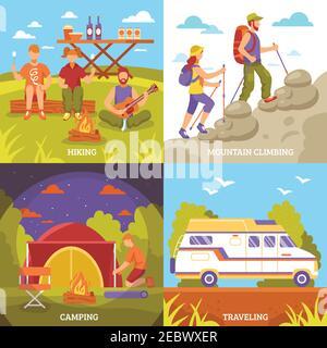 Camping randonnée concept avec quatre compositions d'extérieur carré motorhome tente feu de camp et personnage sans visage illustration vectorielle