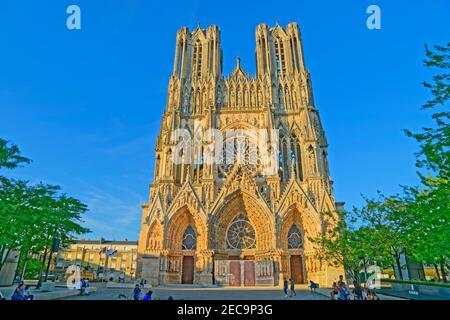 Cathédrale de Reims dans la marne, dans la région Grand Est de la France.