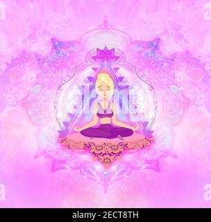 Fille dans lotus yoga pose - carte artistique Banque D'Images