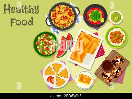 Délicieux plats pour le déjeuner, icône du riz au poulet avec légumes et saucisses, salade de crevettes avec pastèque, ragoût de légumes avec riz, poulet dans une sauce moutarde