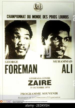 Boxe - Programme de boxe Programme de promotion du World Heavyweight Championnat entre George Foreman et Muhammad Ali crédit obligatoire : images d'action