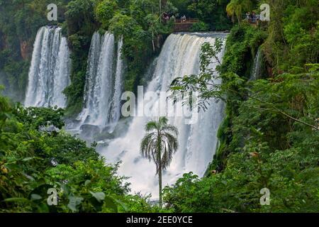 Chutes d'Iguazú / chutes d'Iguaçu, chutes d'eau de la rivière Iguazu à la frontière de la province Argentine de Misiones et de l'état brésilien de Paraná Banque D'Images