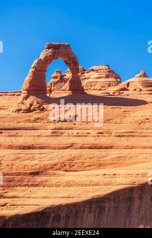 Delicate Arch, Arches National Park, Moab, Utah, États-Unis d'Amérique Banque D'Images