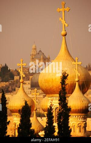 Dômes d'une église, Église de Sainte Marie-Madeleine, Mont des oliviers, Jérusalem, Israël