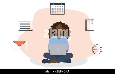 Femme d'affaires sur le lieu de travail assise devant l'ordinateur portable avec calendrier, message texte, liste de tâches, e-mail, horloge sur fond