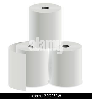 Rouleau de papier hygiénique. Cylindre d'impression de registre thermique. Le caissier vérifie la maquette de tube. Serviette de cuisine pour le ménage. Papier hygiénique blanc vierge. Supermarché c Banque D'Images