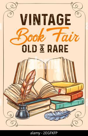Affiche de croquis de livres anciens et de littérature rare pour bibliothèque ou librairie et salon de librairie. Conception vectorielle de livre vintage et écriture stati