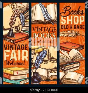 Bannières vintage bookshop ou rare books Fair sketch. Conception vectorielle de vieux livres de littérature vintage et écriture papeterie rareté librairie ancienne rare