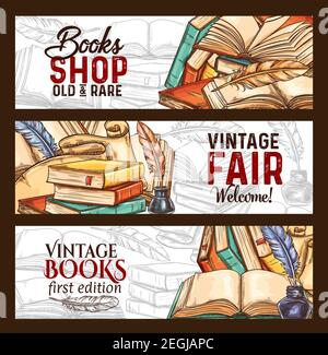 Librairie ou bannières vintage rare books Fair sketch. Vector Old vintage littérature livres et rétro écriture papeterie de plume d'inkwell et de quill