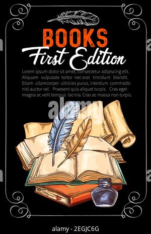 Vintage rare livres esquisse poster pour auteur première édition littérature présentation. Dessin vectoriel de vieux livres rares et écriture papeterie encre et quill