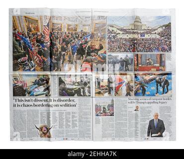 Une double page du quotidien Telegraph à propos de L'invasion du Capitole du 6 janvier 2021