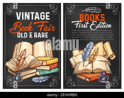 Affiches de croquis de la foire des livres anciens et rares pour l'édition de littérature ou la publicité. Conception vectorielle de livres rares anciens et encre d'écriture avec des stylos de remplissage pour