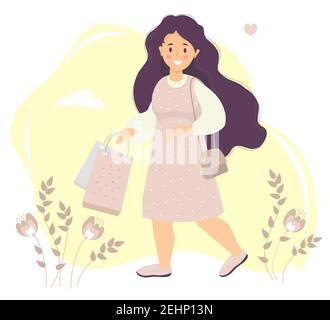Shopping. Une fille heureuse avec de longs cheveux dans une robe rose sourit dans sa main tient des sacs en papier. Arrière-plan décoratif avec fleurs et feuilles, nuages et Banque D'Images