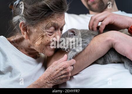 Homme assistant, volontaire et femme senior avec chat chaton mignon avec un moment agréable, animal de compagnie et un vieux concept humain. Amour des animaux de compagnie, amour et soin des chats