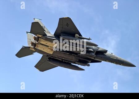RAF Fairford, Gloucestershire / Royaume-Uni - juillet 17 2004: A United States Air Force (USAF) Boeing F-15E Strike Eagle Registration LN (Lakenheath) AF 97-0220