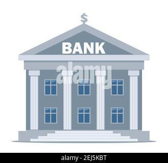 Bâtiment de banque sur fond blanc, financement bancaire, échange de monnaie, services financiers, ATM, donner de l'argent. Illustration vectorielle plate Banque D'Images
