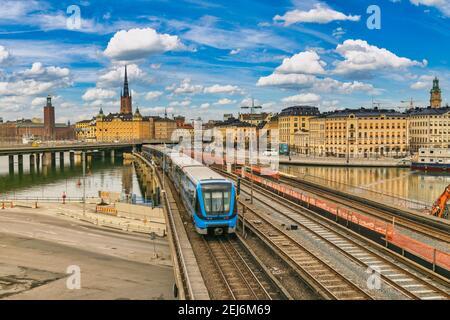 Stockholm Suède, vue sur la ville et métro à Gamla Stan et Slussen