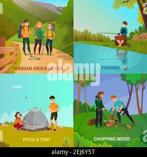 Camping People concept ensemble de quatre compositions carrées avec des personnes pendant les activités d'aventure avec illustration vectorielle de paysage de dessin animé
