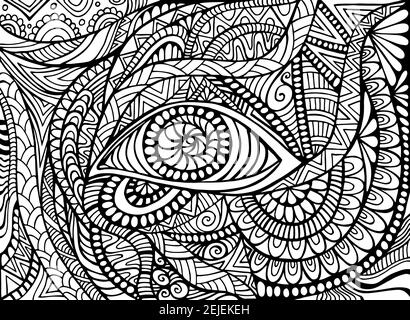 Shamanic Eye psychédélique page de coloriage trippy pour adulte avec bizarre ornements fond fantastique
