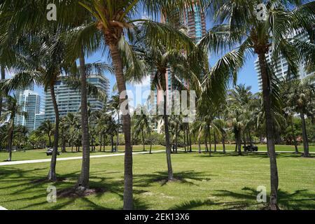 MIAMI BEACH, FL - 28 AVRIL : vue générale du parc South Pointe à Miami Beach lors de la pandémie de coronavirus le 28 avril 2020 à Miami Beach, en Floride. À partir du 29 avril, le comté de Miami-Dade ouvrira des parcs publics, des marinas et des terrains de golf, à mesure que la phase 1 de la fin de l'arrêt du coronavirus est en cours. COVID-19 s'est propagé dans la plupart des pays du monde entier, en prétendant que plus de 215 000 personnes vivent avec des infections de plus de 3,1 millions de personnes (photo d'Alberto E. Tamargo/Sipa USA)