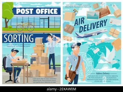 Livraison du courrier et poste. Vecteur de courrier au centre de tri avec timbre-poste, livraison aérienne mondiale de colis, enveloppes et lettres o Banque D'Images