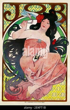 Alphonse Mucha, « Job », affiche lithographique couleur, 1894. Alfons Maria Mucha (1860 -1939) est un peintre, illustrateur et graphiste tchèque de style Art nouveau, Banque D'Images