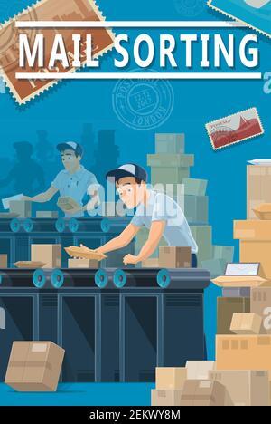 Livraison du courrier, centre de tri des bureaux de poste, logistique et service d'expédition. Les courriers et les employés de bureau de poste Vector trient les enveloppes de lettres W Banque D'Images