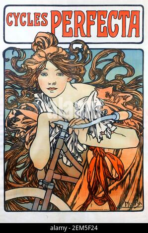 Alphonse Mucha, affiche publicitaire pour « Perfecta cycles », 1902. Alfons Maria Mucha (1860 -1939) est un peintre, illustrateur et graphiste tchèque de style Art nouveau, Banque D'Images