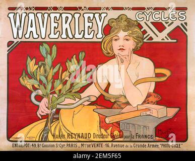 Alphonse Mucha, affiche publicitaire pour « Waverley cycles », 1898. Alfons Maria Mucha (1860 -1939) est un peintre, illustrateur et graphiste tchèque de style Art nouveau, Banque D'Images