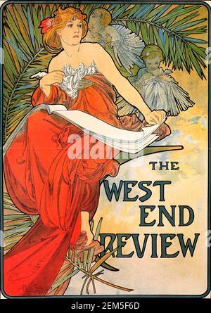 Alphonse Mucha, couverture de magazine pour « West End Review », 1898. Alfons Maria Mucha (1860 -1939) est un peintre, illustrateur et graphiste tchèque de style Art nouveau, Banque D'Images