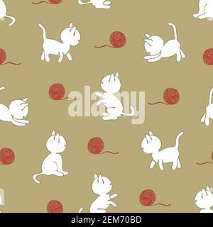 Motif vectoriel sans couture avec des chats blancs jouant avec du fil de balle. Joli papier peint animal sur fond marron clair. Chaton en forme de enfant s'amuser.