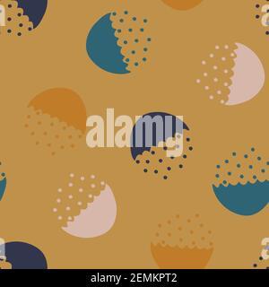 Motif vectoriel sans couture avec bol abstrait et points sur fond moutarde beige. Papier peint moderne et simple. Idéal pour la mode textile. Banque D'Images