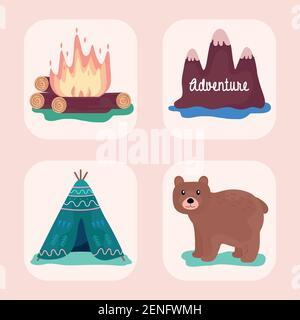 lot de quatre icônes de camping