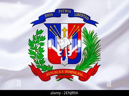 DAS Wappen von Dominikanische Republik, Karibik, Insel Hispaniola, grosse Antillen, Westindische Inseln,