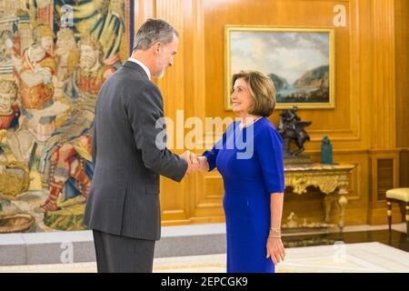 Le roi Felipe VI d'Espagne assiste à une audience avec la présidente de la Chambre des représentants des États-Unis Nancy Pelosi.03 décembre 2019. (Photo de Francis Gonzalez/Alter photos/Sipa USA)