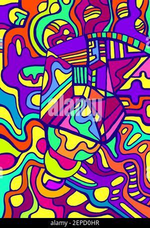 Motif de caniche surréaliste coloré et psychédélique vif. Motifs abstraits de couleurs arc-en-ciel, labyrinthe d'ornements.