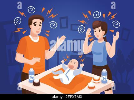 Les bébés problèmes de sommeil composition avec des parents frustrés apaisant les pleurs nouveau-nés illustration du vecteur de fond bleu de bébé de nuit Banque D'Images