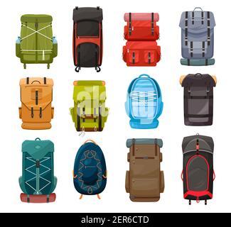 Sacs à dos, vecteur trekking camp dos pack sacs de voyage avec laçage pour l'équipement touristique, la randonnée, le camping et le sport d'escalade. Sacs à dos ou sacs à dos pour randonneurs