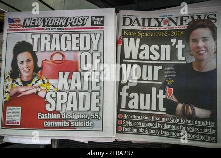 Les pages de couverture et les titres des journaux de New York le mercredi 6 juin 2018 rapport sur le suicide des jours précédents de la couturière Kate Spade. (Âphoto de Richard B. Levine)