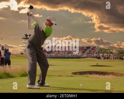 Tiger Woods, débarque à la 3e à - The Open - Old course, St Andrews, Fife, Écosse, Royaume-Uni