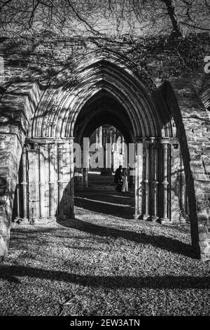 Couple de personnes âgées dans des masques de visage marchant dans le parc national de Margam, les ruines de l'abbaye, le sud du pays de Galles. Noir et blanc