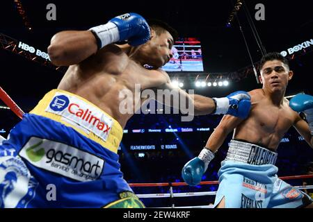 16 septembre 2017 ; Las Vegas, NV, États-Unis ; Joseph Diaz (troncs bleu clair) et Rafael Rivera (troncs bleu royal) pendant leur combat à T-Mobile Arena. Crédit obligatoire: Joe Camporeale-USA TODAY Sports