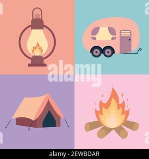 quatre icônes de camping
