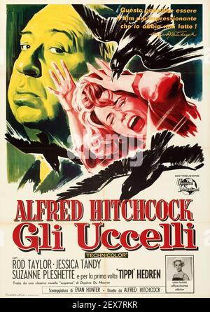 Alfred Hitchcock film publicitaire/poster pour le classique 'The Birds'. Version italienne.