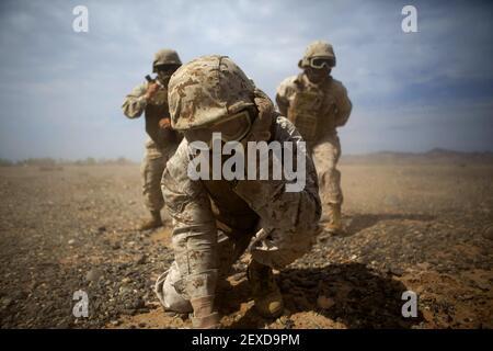 Marines s'étrent contre le lavage de rotor lors d'un exercice de tactique de soutien d'assaut à Landing zone Bull, Chocolate Mountain Aerial Gunnery Range, Californie, 12 octobre 2015. Cet exercice faisait partie d'un événement de formation de sept semaines organisé par l'escadron des armes et tactiques de l'aviation maritime un. (Photo par lance Cpl. Roderick L. Jacquote/États-Unis Corps de marine) *** Veuillez utiliser le crédit de la zone de crédit ***